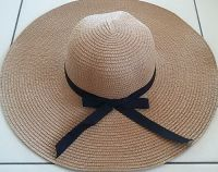 Womens Beige Straw Floppy Sun Hat